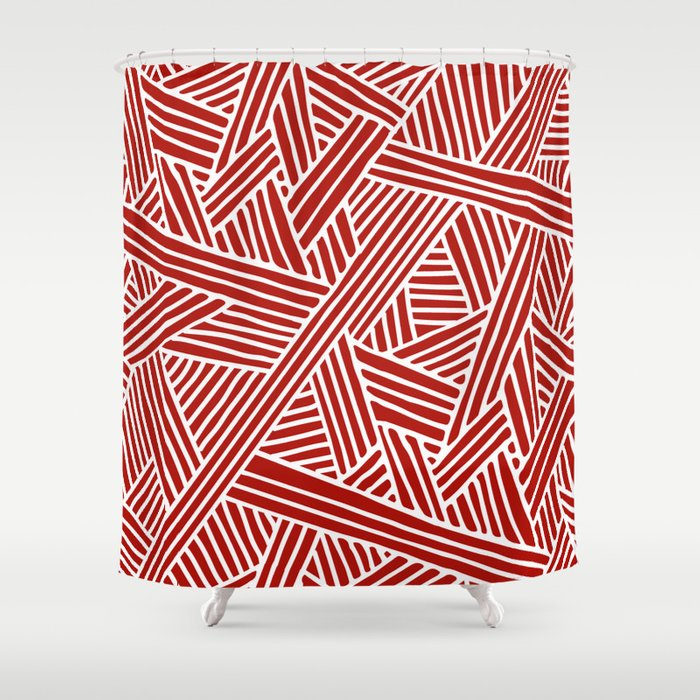 Abstract Navy Red White Lines And Triangles Pattern Shower Curtain By Simplicity Of Live