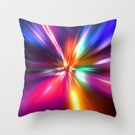 acceleration speed motion on night road Throw Pillow