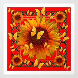 RED KANSAS SUNFLOWERS BUTTERFLY ART Art Print