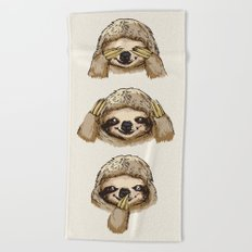 No Evil Sloth Beach Towel