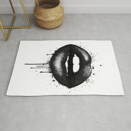 Black Lips Art Watercolor Print Kiss Love Sexy Girl Fashion Poster Lipstick Chic Makeup Decor Rug