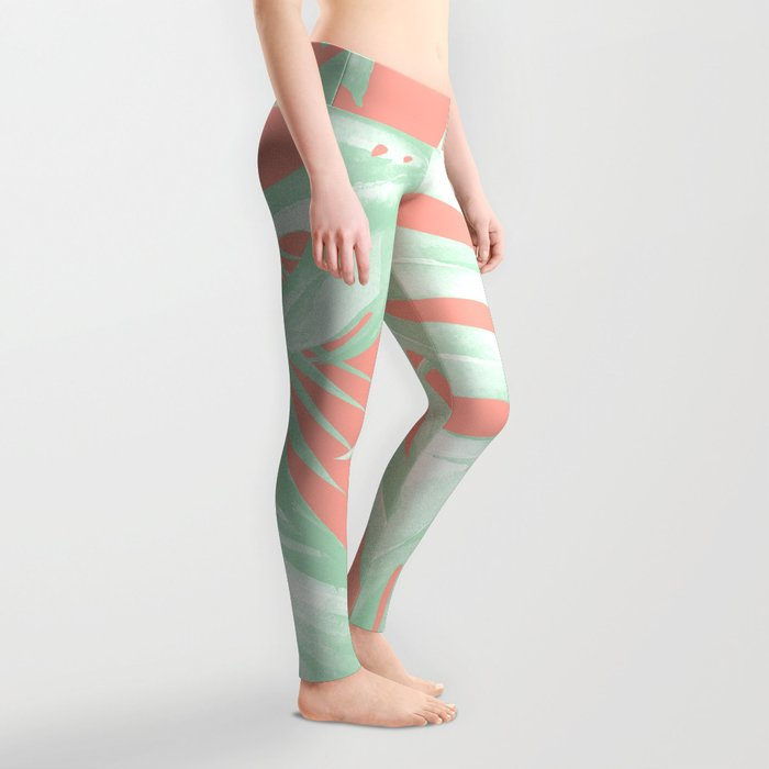 Island Love Coral Pink + Light Green Leggings