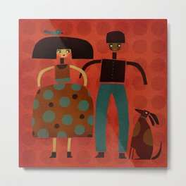COUPLE & DOG & BIRD Metal Print