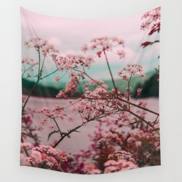 Pink Baby's Breath White Pink Blossoms Against Turquoise Background Wall Tapestry