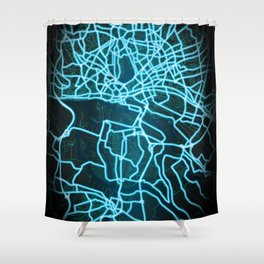 Hamburg, Germany, Blue, White, Neon, Glow, City, Map Shower Curtain