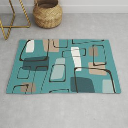 Bold Turquoise Eames Style Art Rug