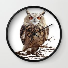 WILDERNESS BROWN OWL IN WHITE Wall Clock