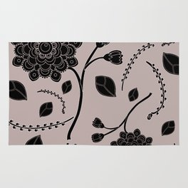 Graphic Flowers in black Rug