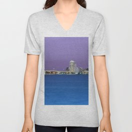 Downtown Clearwater, Florida at Night Unisex V-Neck