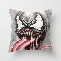 venom Throw Pillows featuring venom by rchaem