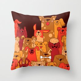 Pile of Woofs Throw Pillow