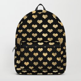 Glam Black and Gold Hearts Backpack