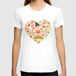 Yoga pose, lotus position. Beautiful girl in the lotus position. Nutrition concept. Healthy natural T-shirt