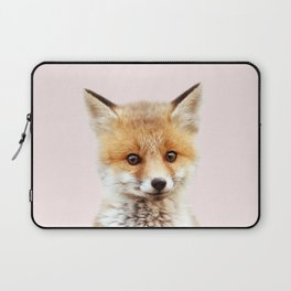 Baby Fox With Pink Background, Baby Animals Art Print By Synplus Laptop Sleeve