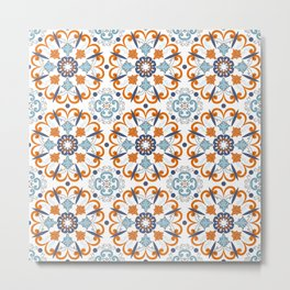 Retro Vintage Decorative Mosaic Azulejo Blue and Orange 2 Metal Print