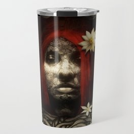Red Hair with Flowers Travel Mug