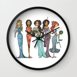 Princess Ariel, Pocahontas, Jasmine, Esmeralda and Aurore Wall Clock