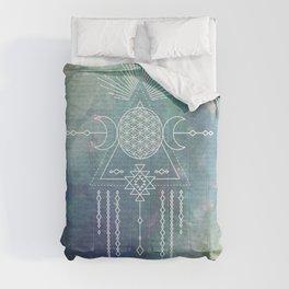 Mandala Flower of Life in Turquoise Stars Comforters