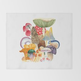 Woodland Mushroom Society Throw Blanket
