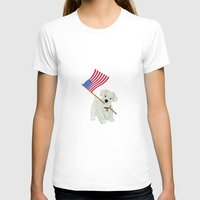 westie T-shirts featuring Original Paper Cutting of Westie With American Flag by Carrie McFerron
