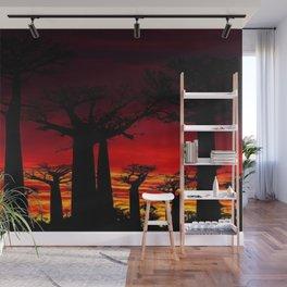 Madagascar Baobab Tree Sunset Landscape Painting Wall Mural