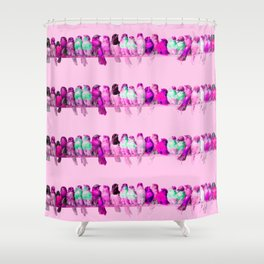 "Hector Giacomelli ""A Perch of Birds""(edited pink) Shower Curtain"