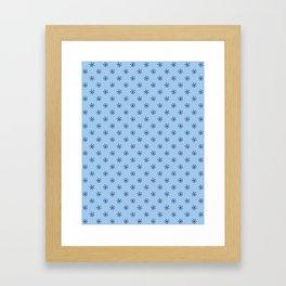 Black on Baby Blue Snowflakes Framed Art Print