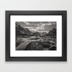 Between two lakes (B+W) Framed Art Print