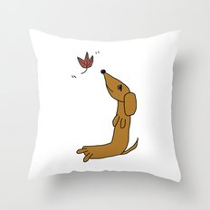 Dachshund With Autumn Leaf Throw Pillow