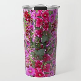 PINK HOLLYHOCK FLOWERS TEAL ABSTRACT GARDEN Travel Mug