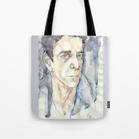 lou reed Tote Bags featuring Lou Reed by Germania Marquez