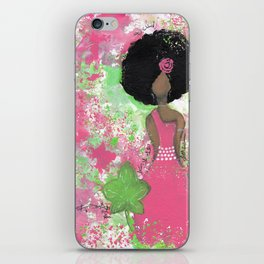 Dripping Pink and Green Angel iPhone Skin