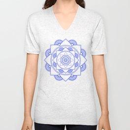 Mandala 01 - Royal Blue on White Unisex V-Neck