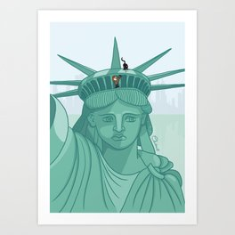 Climb on the top of the liberty statue Art Print
