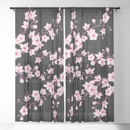 Cherry Blossom Pink Black Sheer Curtain