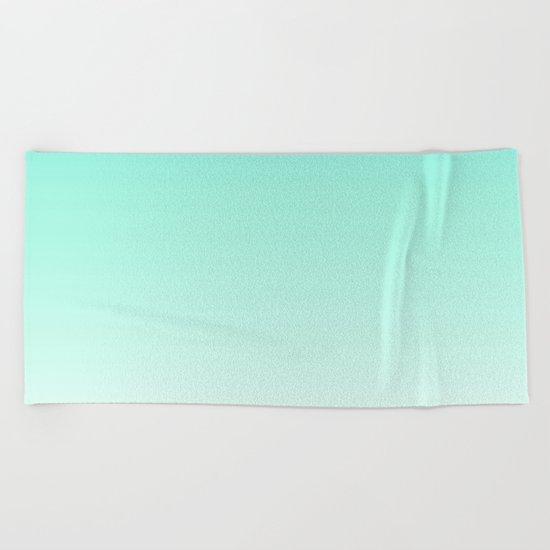 Ombre gradient digital illustration green, blue colors Beach Towel