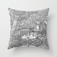 velvet underground Throw Pillows featuring Underground by Olya Goloveshkina
