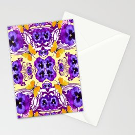 GOLDEN BUTTERFLIES & PURPLE PANSY FLOWERS Stationery Cards