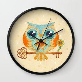 Owl's Summer Love Letters Wall Clock