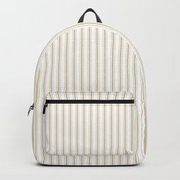 Christmas Gold and White Mattress Ticking Stripes Backpack