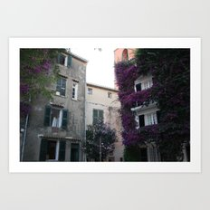with purple flowers overgrown house in Saint Tropez France in Summer Art Print