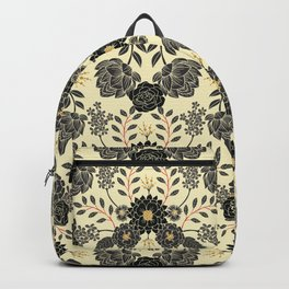 Gray, Black, Cream, Yellow & Red Sophisticated Floral Pattern Backpack