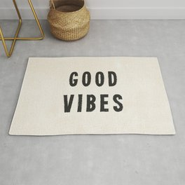 Distressed Ink Effect Good Vibes | Black on Off White Rug