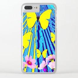 MODERN ART YELLOW BUTTERFLIES PINK FLOWERS BLUE PATTERN Clear iPhone Case