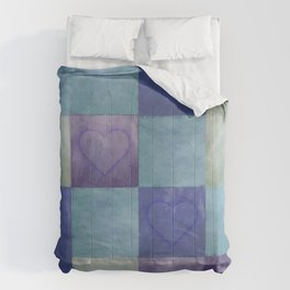Blue Tiles with Hearts Comforters
