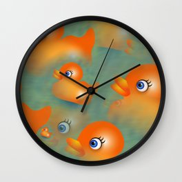 Orange Rubber Duckies Wall Clock