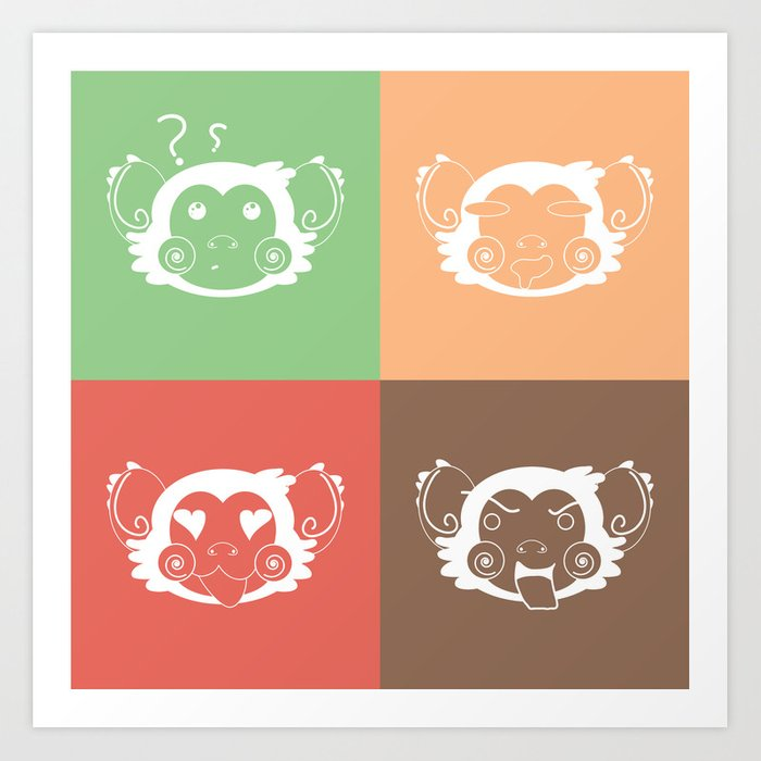 Ice Cream Color Abstract Monkey Face Blocks Art Print By Sampsonknight