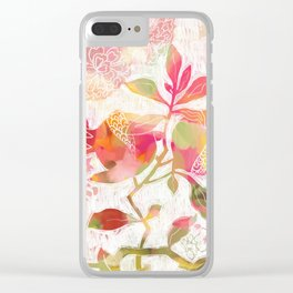 Pomegranate Flowers Clear iPhone Case