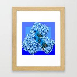 3 BLUE BIRDS & BLUE HYDRANGEAS ART Framed Art Print