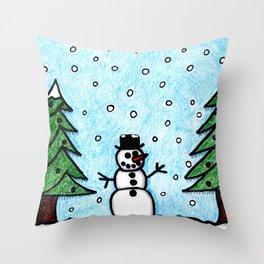 Snowman Greetings Throw Pillow